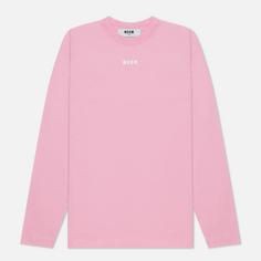 Женский лонгслив MSGM Micrologo Basic Crew Neck, цвет розовый, размер S