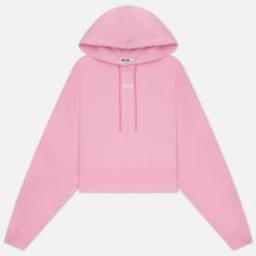 Женская толстовка MSGM Micrologo Basic Unbrushed Hoodie, цвет розовый, размер XS