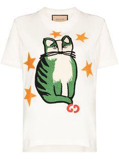 Gucci футболка Star Cat с вышивкой