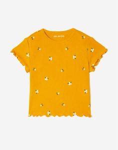 Жёлтая футболка с цветочным принтом для девочки Gloria Jeans