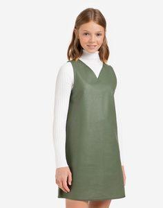 Хаки платье из экокожи для девочки Gloria Jeans