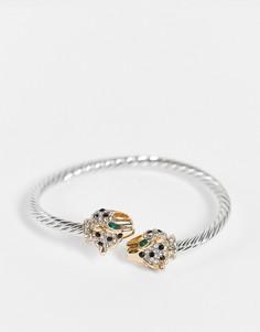 Браслет с украшением в виде змеи золотистого цвета с изумрудно-зелеными вставками ALDO Kinka-Золотистый