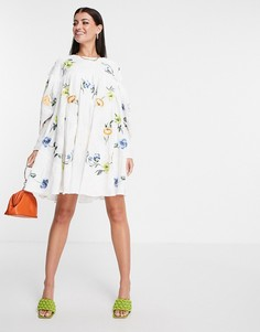 Платье мини А-силуэта с бантом на спине, кружевами и цветочной вышивкой ASOS EDITION-Белый
