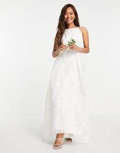 Свадебное платье из органзы с цветочной 3D-вышивкой и американской проймой ASOS EDITION Lavinia-Белый