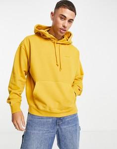 Худи желтого цвета с логотипом в тон на красном ярлыке Levis-Желтый