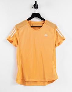 Оранжевая футболка с 3 полосками adidas Running-Оранжевый цвет