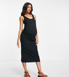 Черное облегающее платье миди для будущих мам без рукавов из смесового хлопка Mamalicious Maternity-Черный цвет Mama.Licious