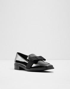 Черные лакированные лоферы с бантами ALDO Hairalle-Черный цвет
