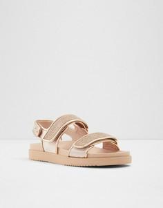 Стеганые сандалии на толстой подошве в винтажном стиле цвета розового золота ALDO Eowilwia-Золотистый