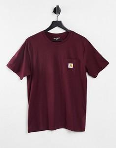 Бордовая футболка с карманом Carhartt WIP-Красный