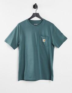 Зеленая футболка с карманом Carhartt WIP-Зеленый цвет