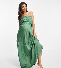 Ярусное пляжное платье макси цвета хаки с открытыми плечами ASOS DESIGN Maternity-Зеленый цвет