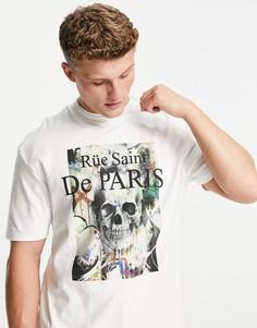 Белая футболка свободного кроя с абстрактным принтом черепа River Island-Белый