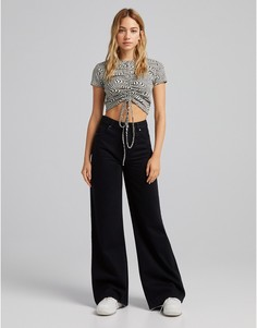 Черные джинсы с очень широкими штанинами в стиле 90-х Bershka-Черный цвет