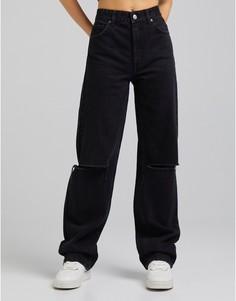 Черные джинсы в винтажном стиле со рваной отделкой Bershka-Черный цвет