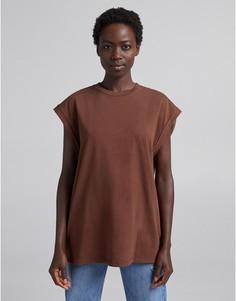 Oversized-футболка шоколадного цвета Bershka-Коричневый цвет
