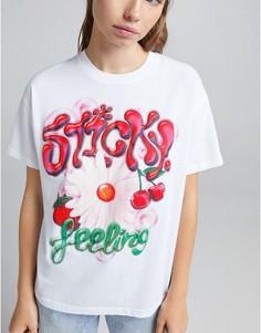 Белая oversized-футболка с цветочным принтом в стиле граффити Bershka-Белый