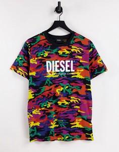 Разноцветная футболка Diesel xPride-Разноцветный