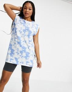 Удлиненная футболка с принтом тай-дай голубого цвета Pieces-Разноцветный
