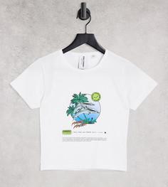 Белая приталенная футболка с принтом дельфина COLLUSION-Белый