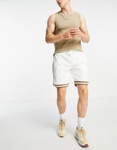 Серо-бежевые узкие шорты от комплекта River Island-Белый