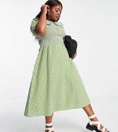 Платье миди из жатой ткани в клетку с присборенным лифом и большим воротником Neon Rose Plus-Зеленый цвет