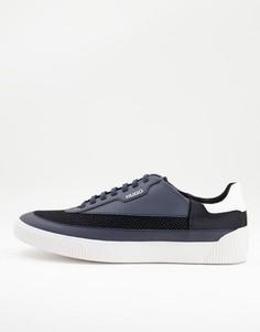 Темно-синие кроссовки из сетки и кожи HUGO Zero Tenn-Темно-синий