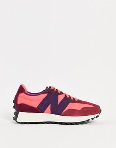 Розовые с красным кроссовки New Balance 327-Розовый цвет