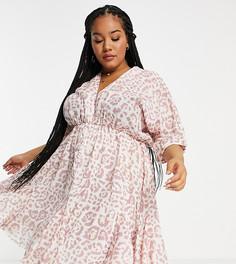 Платье мини с расклешенной юбкой-годе, V-образным вырезом спереди и сзади и звериным принтом ASOS DESIGN Curve-Разноцветный