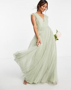 Платье макси из тюля шалфейно-зеленого цвета с глубоким вырезом и присборенными рукавами ASOS DESIGN-Зеленый цвет