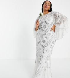 Свадебное белое платье с декоративной отделкой и рукавами кимоно Virgos Lounge Curve Bridal-Белый
