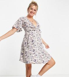 Сиреневое платье мини с завязкой спереди Missguided Maternity-Фиолетовый цвет