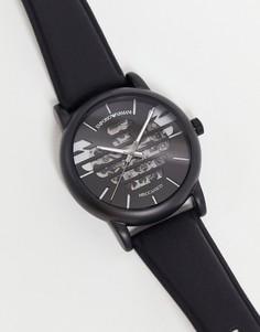 Мужские часы с кожаным ремешком и логотипом Emporio Armani Luigi AR60032-Черный цвет