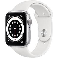 Смарт-часы Apple Watch Series 6 44 мм серебристый, спортивный ремешок