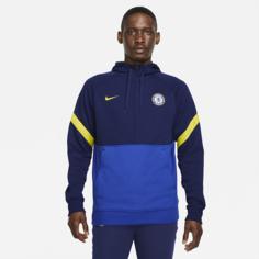 Мужская футбольная флисовая худи с молнией на половину длины Chelsea FC - Синий Nike