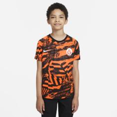 Предматчевая игровая футболка с коротким рукавом для школьников из формы ФК «Галатасарай» - Оранжевый Nike