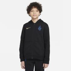 Флисовая худи с молнией во всю длину для школьников Inter Milan - Черный Nike