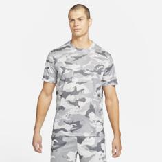 Мужская футболка с камуфляжным принтом для тренинга Nike Dri-FIT - Серый