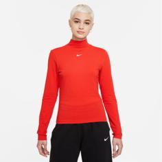 Женская футболка с воротником-стойкой и длинным рукавом Nike Sportswear Collection Essentials - Красный