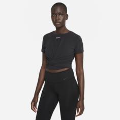 Женская футболка с коротким рукавом со стандартной посадкой и перекрученной деталью Nike Dri-FIT One Luxe - Черный