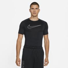 Мужская футболка с плотной посадкой и коротким рукавом Nike Pro Dri-FIT - Черный
