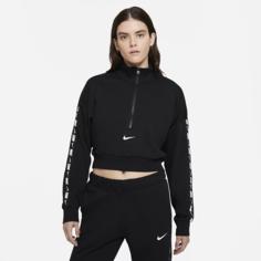 Женская укороченная флисовая футболка Nike Sportswear Essential - Черный