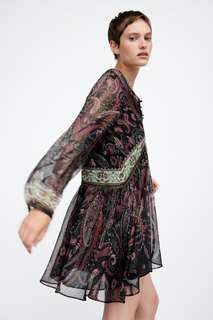 Платье из струящейся ткани с принтом Zara