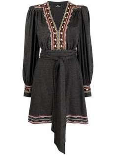 ETRO платье мини с длинными рукавами и вышивкой