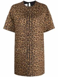 Valentino платье с леопардовым принтом и короткими рукавами