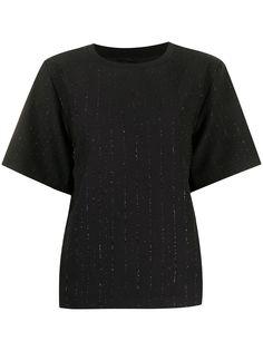 Armani Exchange футболка в полоску с эффектом металлик