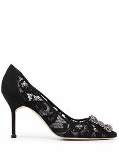Manolo Blahnik кружевные туфли Hangisi 90 с миндалевидным носком
