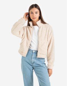 Бежевая плюшевая куртка Gloria Jeans