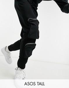 Черные суженные книзу джоггеры с нейлоновыми карманами в стиле милитари ASOS DESIGN Tall-Черный