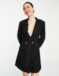 Черное платье-блейзер мини с фактурной отделкой ASOS DESIGN-Черный цвет
